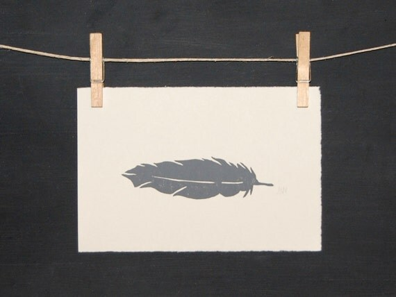 Bird - Grey Feather - Hand Pulled Print