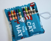 Crayon Rolls made from Aqua Cat in the Hat fabric, holds 10 Crayons, Birthday Party Favors