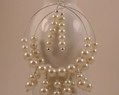 Ecru Off White Beaded Glass Pearl Hoop Earrings with Silver Plated Accents