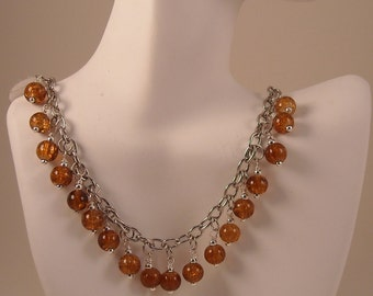 Silver Metal Chain Wire Wrapped Acrylic Beads Beaded Dangles Chain Necklace