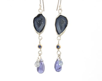Baby Geode Blue Sapphire and Iolite Dangle Earrings