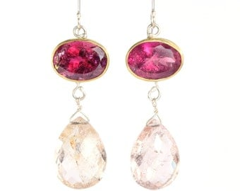 Rubelite - Pink Tourmaline - & Morganite Goddess Earrings