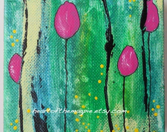 Abstract Painting Flowers Small Chunky Canvas Pink Flowers Expressive Acrylic Painting 4 x 4 Tiny Canvas Square Abstract Tulips Green Black