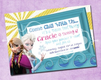 Frozen Elsa and Anna Pool Party Birthday Invitation