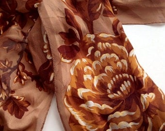 Vintage ADRIENNE VITTADINI Silk Floral Scarf