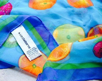 Liz Claiborne Silk Scarf with Bold Blues, Orange, Yellow, Red and Lime Green Colours