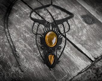 Citrine & Tiger Eye Macrame necklace