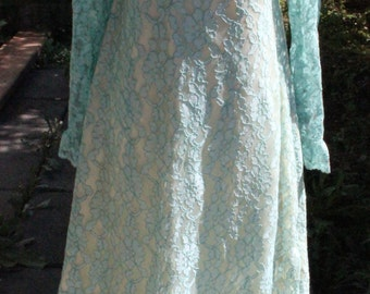 Vintage Stunning Turquoise Lace 60's Wedding Bridal Formal Party Dress