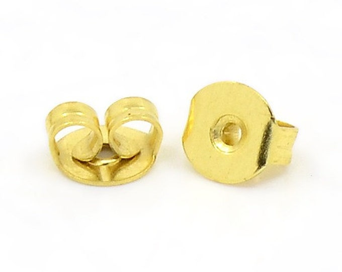 Earring back stopper gold tone - earring stopper earnut ear stud back stopper butterfly clutch earring back 5x4mm (1464 - Flat rate shipping