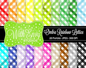 SALE SALE Digital Striped Scrapbook Paper Pack - Rainbow Striped Paper Set - Ombre Scrapbook Paper - Rainbow Scrapbook Paper
