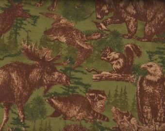 Moose Fabric, Timber Lodge by Robert Kaufman, Flannel, Wildlife Fabric, 05126