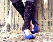 Leg Warmers Knit Women Adult Handmade Boot Socks Knee High Black Ladies Leggings