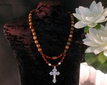 Italian Cross Pendant Necklace, Rosary, Beadwork, Heart of Christ, Statement Necklace, Ethnic Jewelry, Prayer, Christian Jewelry
