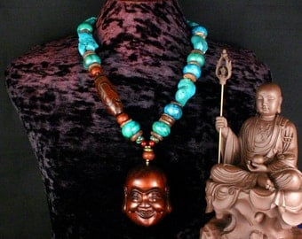 Turquoise Statement Necklace, Buddha Pendant Necklace, Dzi Bead, Ethnic Jewelry, Nepal, Tibet, Ancient Jewelry, Chunky Bead Necklace