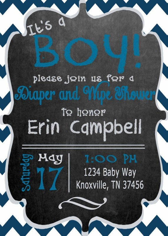 baby boy shower invitation diaper wipe printable diy custom