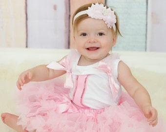 Pink First Birthday Tutu Set - Birthday Party Photo Prop Girls Birthday Ballerina