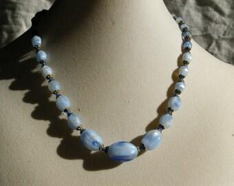 """Blue Czech Glass Choker Necklace-  1920s - 16"""""""