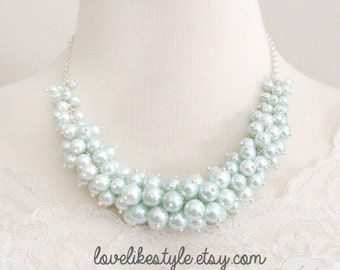 Beautiful Mint Pearl Necklace, Mint Blue Pearl Cluster Necklace, Bridal Pearl Necklace, Bridesmaid Mint Pearl Necklace