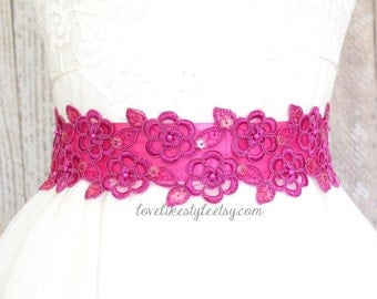Hot Pink Beaded Lace Sash, Bridal Hot Pink Sash, Bridesmaid Pink Sash, Flower Girl Sash / SH-15