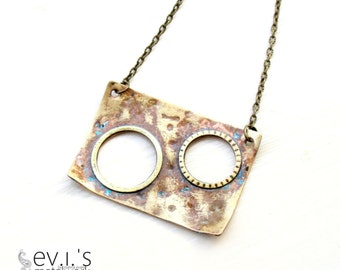 Rectangular Round Discs Cut Out Brass Short Necklace Luck Love Oxidized Boho Hippie Ethnic Bib Statement by evismetalwork