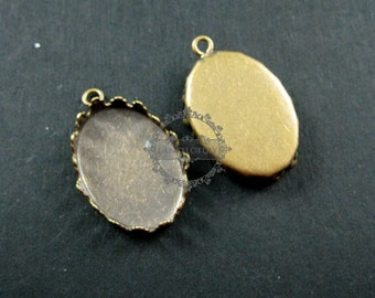 20pcs 13x18mm setting size one loop vintage style bronze crown oval bezel tray DIY pendant charm supplies 1421046