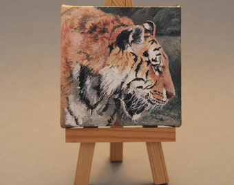 "Gift Art  Painting Original Acrylic 3""X3"": Eye of the Tiger (includes wooden easel)"