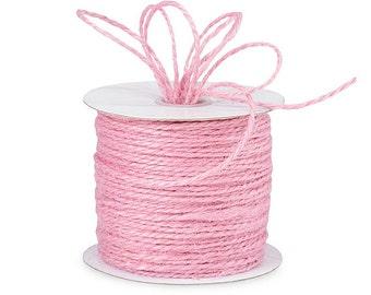 100 yds of Pink Jute Twine.Baby Shower - Birthdays. Rustic Weddings Favors. Packaging Ribbon - Gift Ribbon