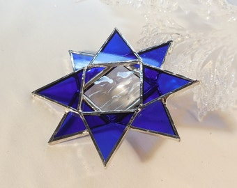Christmas Glass Ornament. Cobalt Blue Star. Suncatcher, Christmas Ornament. Christmas Star