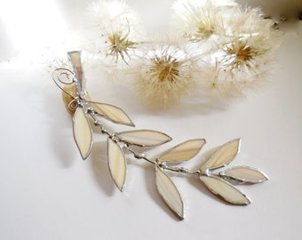 Milky White Pastel Beige Glass Winter Leaf Branch. Stained Glass Suncatcher. Milky Beige Leaf.
