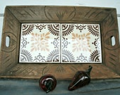 Mexican Carved Wood and Ceramic Tiles Tray