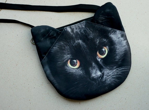 Black cat cross body, cat shoulder bag, cat bag, cat clutch, novelty , pouch, purse, cat lover, cat portrait ,  SB-326