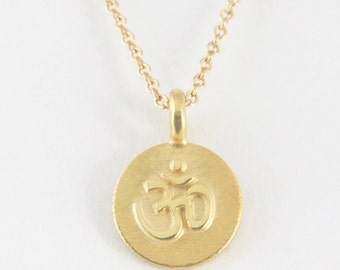 Solid 14K Yellow Gold Om Disc Pendant
