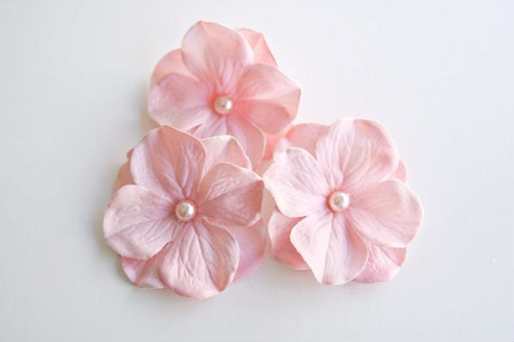 SALE - Bridesmaids Gift, Pink Hair Flower Pins, Wedding Accessories, Light Pink Hydrangea, Pearls, Bridal Accessories