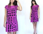 Hand painted silk mini dress.  PATCHWORK DOTS in Petal.  made to order dress