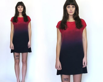 SALE Ombre Silk Dress Ode to Rothko RED