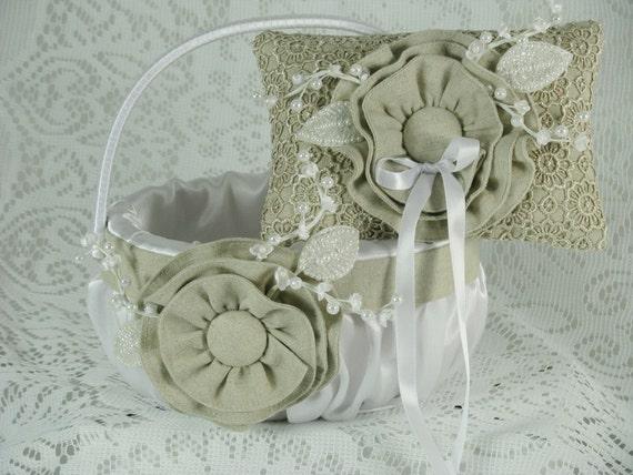 Wedding Flower Girl Basket Ring Bearer Pillow Set White Satin And