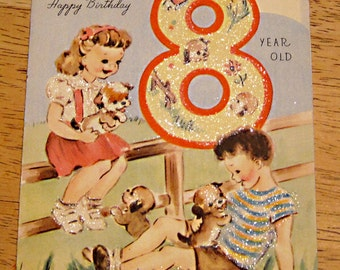 Vintage birthday card 8 year old 1940s
