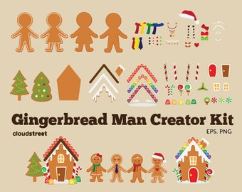 20% OFF Gingerbread man Creator Kit clipart for personal and commercial use ( christmas gingerbread clip art )