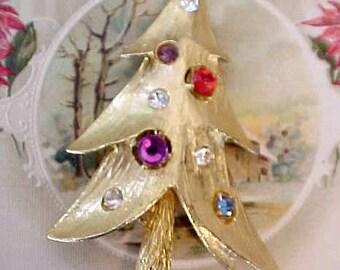 Charming 1950's Modernistic Rhinestone Christmas Tree Brooch