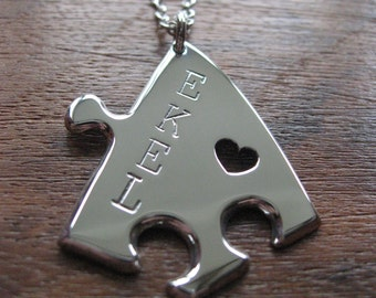 Puzzle Pendant Necklace with Four Stamped Initials and heart