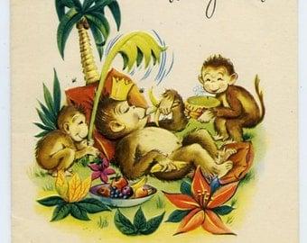 Barrel of Monkeys-Vintage Get Well Card featuring Monkeys