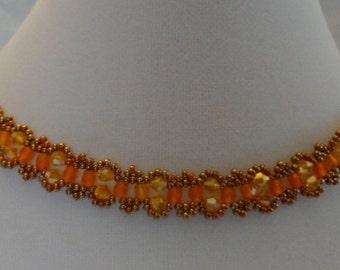 Orange Crystal Woven Lacy Choker