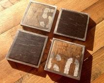 Bourbon Whiskey Barrel Coasters (black, natural oak, brown, green, aluminum, square)