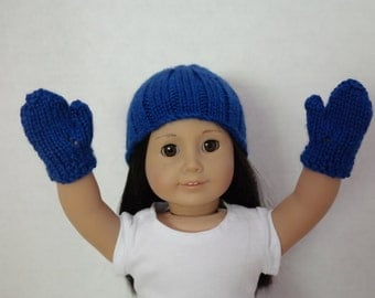 Knitted Doll Hat in Blue