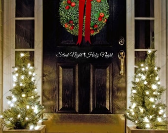 Silent Night Holy Night with Christmas Star Vinyl Wall/Door Decal Merry Christmas....Your choice of color""