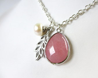 Strawberry Pink, Freshwater Pearl, and Leaf Necklace - Teardrop Charm Necklace - Pink Teardrop Pendant - Pearl Necklace