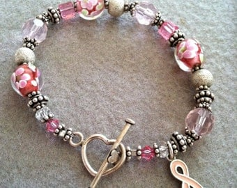 Breast Cancer Awareness, Bracelet with pink ribbon charm