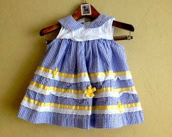 Blue Gingham and Eyelet Dress 12m