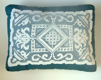PILLOW with ANTIQUE LACE - Teal Polished Cotton with 1920s Handmade Lace
