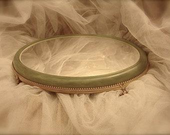 Vintage gold vanity mirror, gold & green vanity mirror, wedding decoration